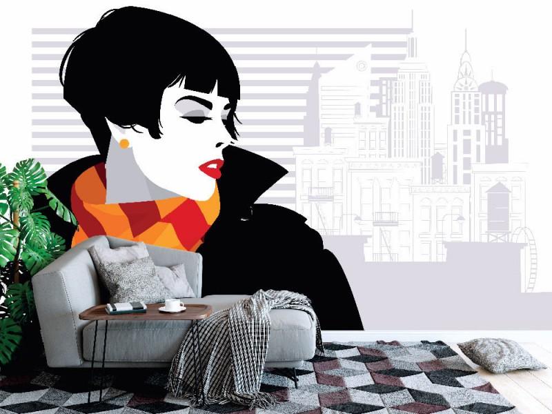Fototapet popkonst modekvinna i new york