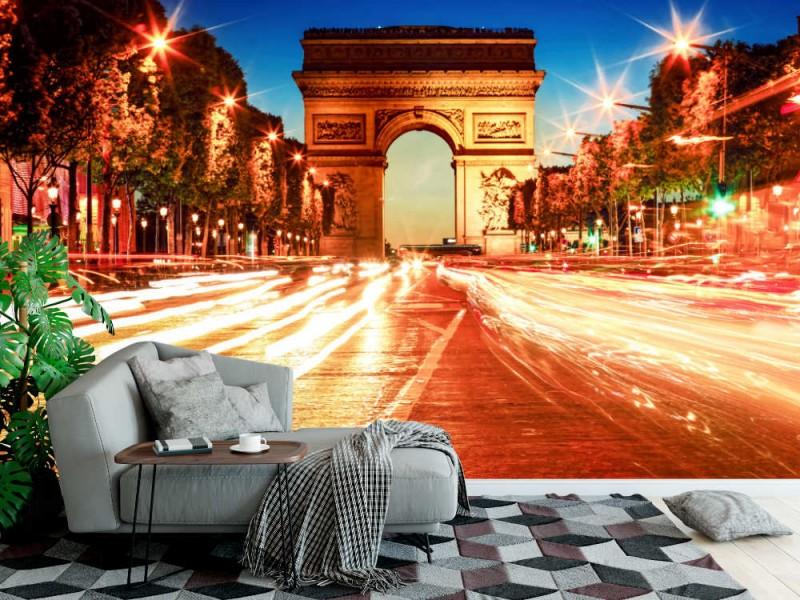 Fototapet Triumfbågen och ljusleder i Paris