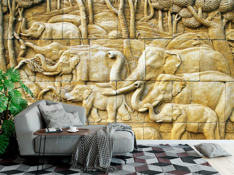 Fototapet snidad elefant på stenmur (12673924)
