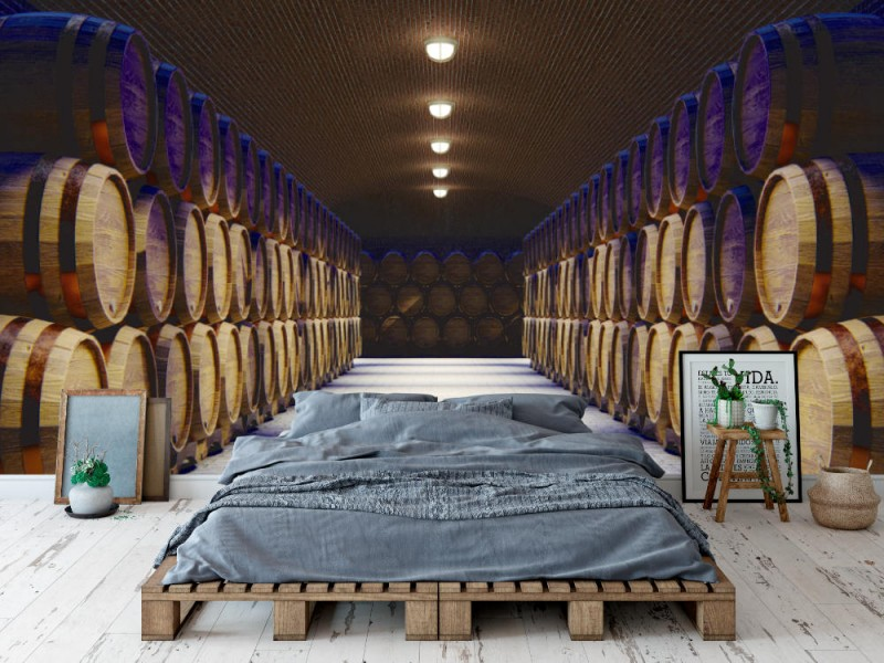 Fototapet vinkällare med stora träfat (130016148)