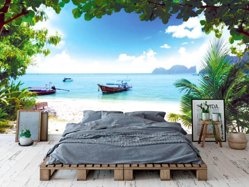 Fototapet lång båt på ön Phi Phi i Thailand (13381303)