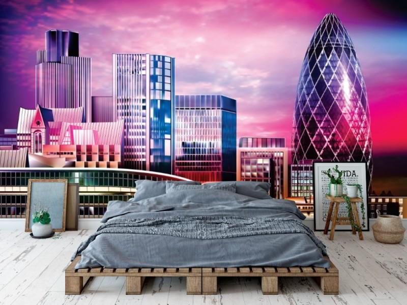 Fototapet abstrakt lila stadsbild av London (136547340)