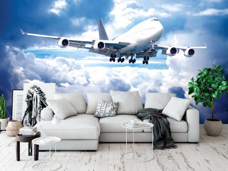 Fototapet ett stort flygplan går för landning (13897684)