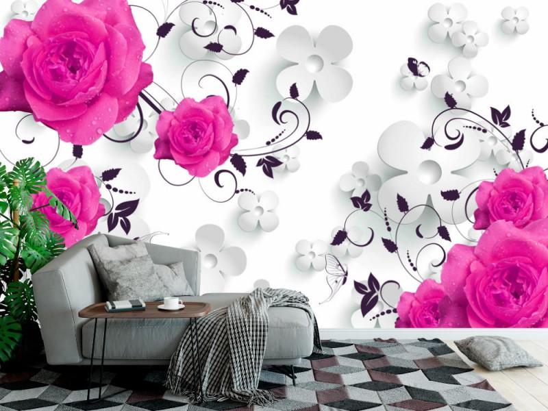 Fototapet för modern konst 3d tapeter med målade rosor och bakgrunden för vita blommor (147245325)