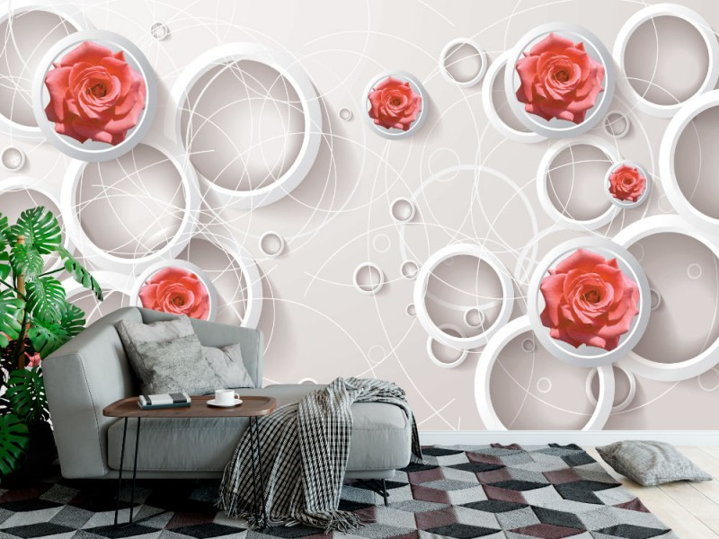 modern konstnärlig 3d Fototapet med vita cirklar och röda rosor (147245326)