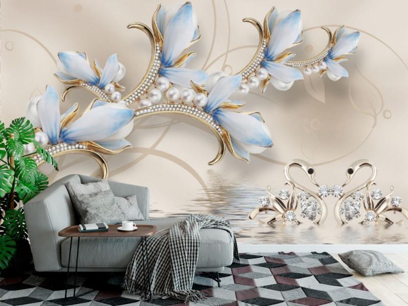 modern konstnärlig 3d Fototapet med smycken blommor och vita svanar (147256207)