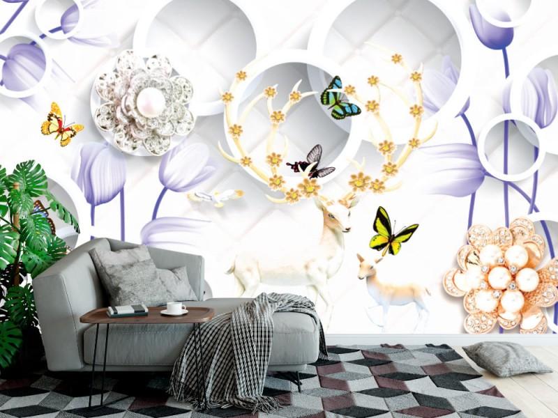 3d Fototapet med blommor och hjortar på smyckebakgrunden (148088244)