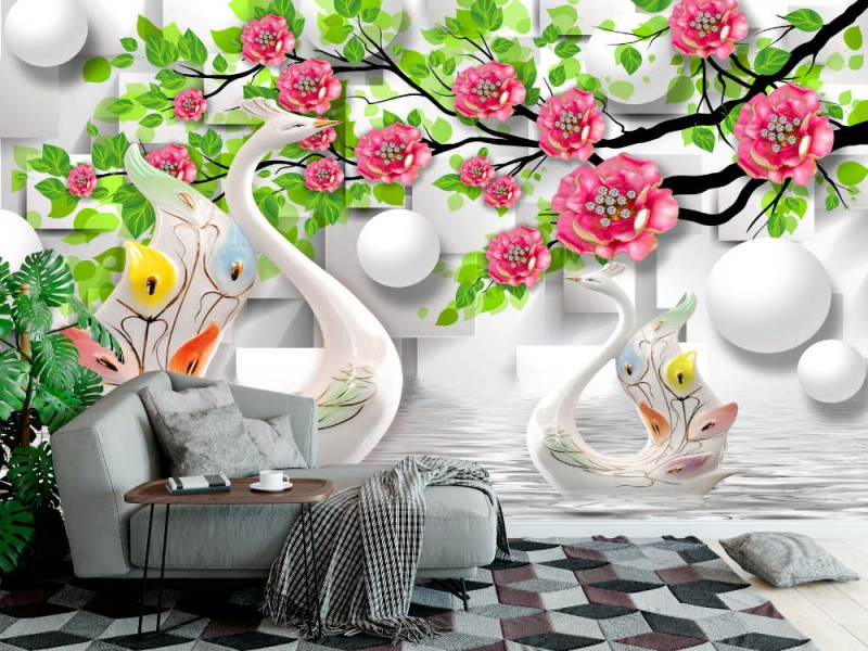 3d Fototapet med målade svanar och blommor (148360634)