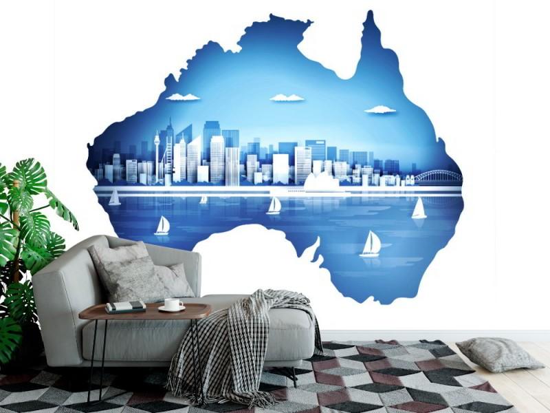 Fototapet australisk karta