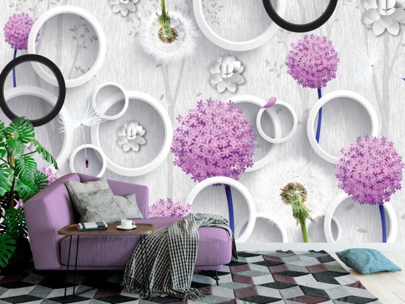 Fototapet 3d väggmålning tapet abstrakt med silhuetter av maskrosor och träd mönster på dekorativ silverbakgrund(148900136)