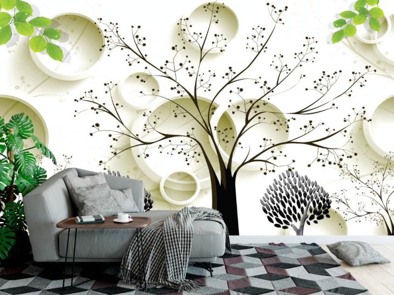 3d Fototapet med målade svarta träd och cirklar (149165518)