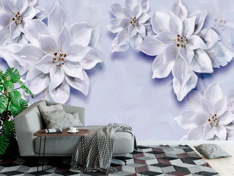 Fototapet 3d väggmålning tapet med vita blommor och gyllene pärlsmycken (149298091)
