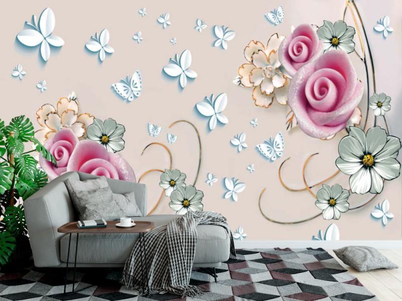 Fototapet 3d väggmålning med mjuka blommor på beige bakgrunden (149298094)