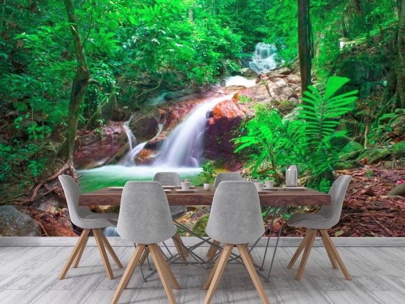 Fototapet vild djungelskog och vattenfall