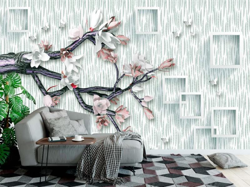 Fototapet 3d väggmålning tapet Ender blomma och trädgren, fjäril och vit bakgrund (155804122)