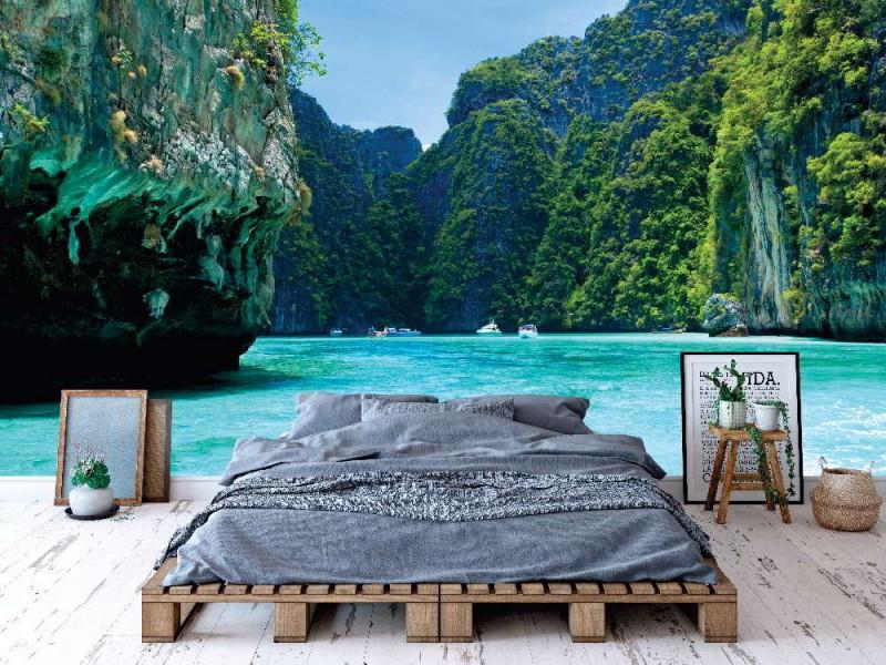 Fototapet klippa och havet i Phi-Phi Leh