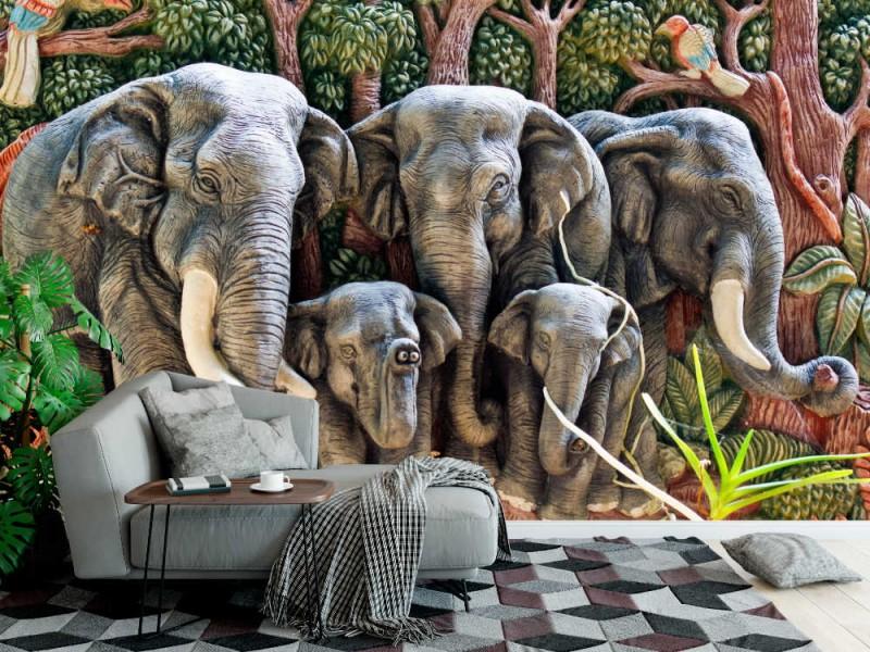 Fototapet elefantgjutning (17107913)