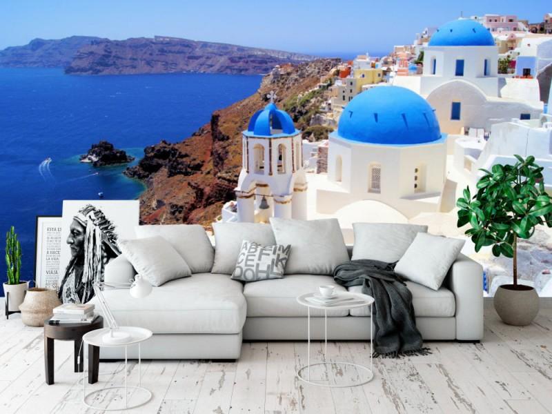 Fototapet Santorini Churches