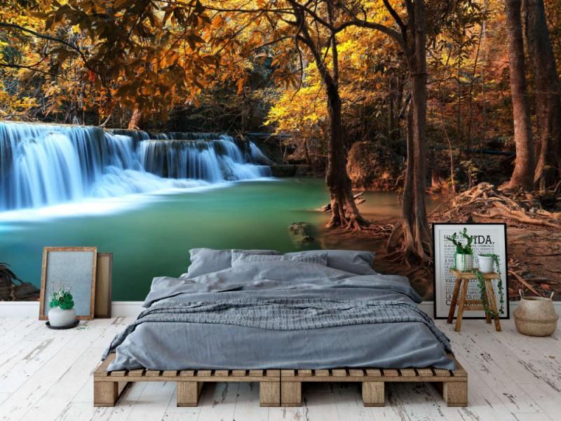 Fototapet Deep Autumn Forest Waterfall