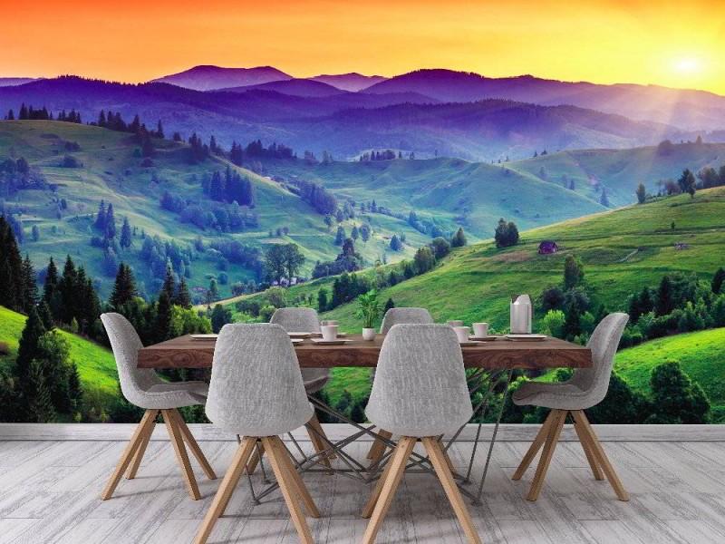 Fototapet majestätisk solnedgång i Karpaterna