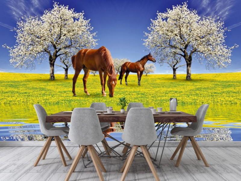 Fototapet hästar och blommande körsbärsträd (18895012)