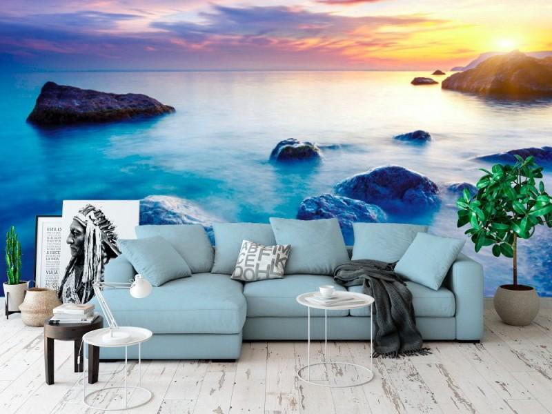 Fototapet majestätisk sommarsolnedgång över havet