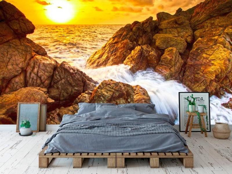 Fototapet liggande solnedgång vågor