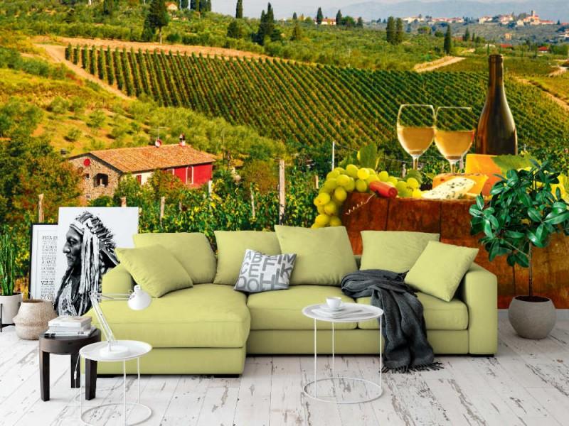 Fototapet vitt vin med fat på vingården i Chianti (Toscana, Italien)
