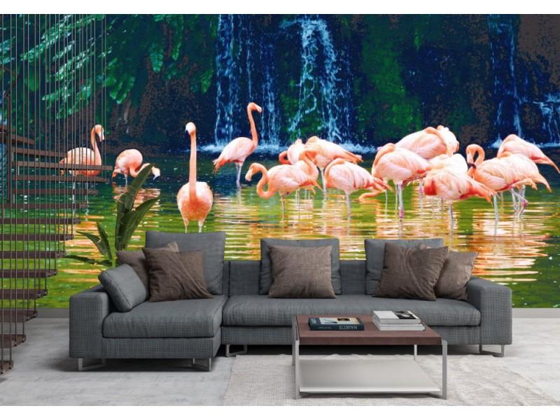 Fototapet rosa flamingofåglar i en damm