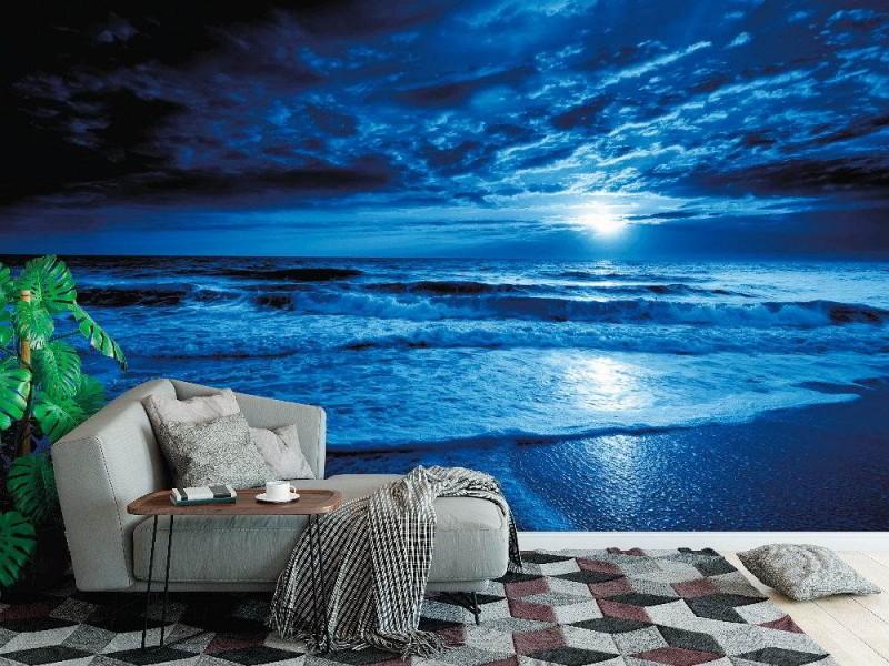 Fototapet blått hav vid midnatt