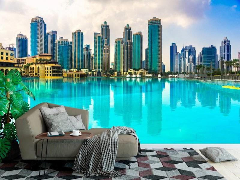 Fototapet Dubai skyline i skymningen