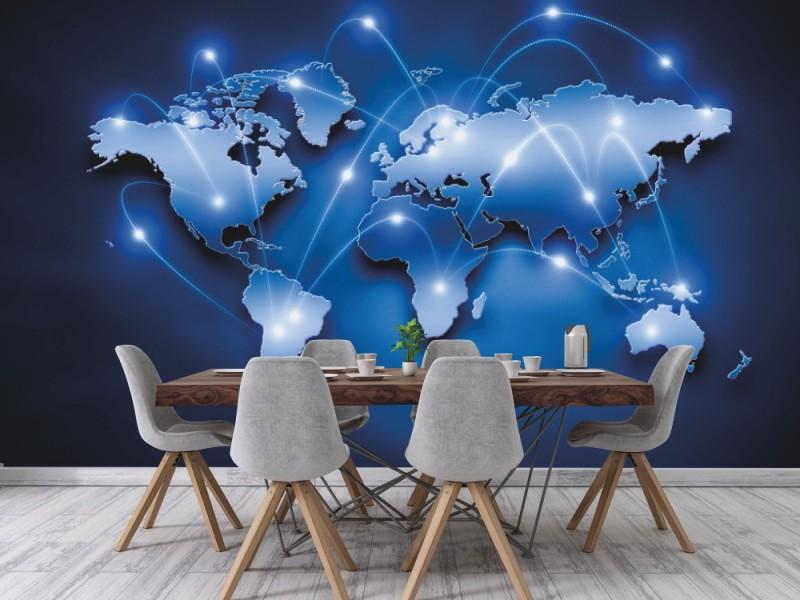 Fototapet digital världskarta med anslutningslinjer