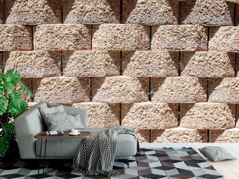 Fototapet en vägg av sammankopplade stenblock (27896749)