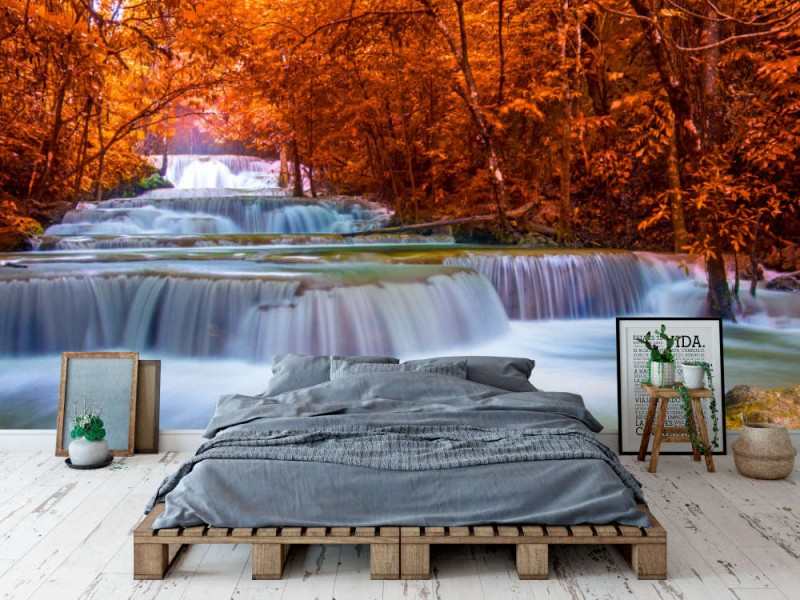 Fototapet Huay Mae Kamin Waterfall In Thailand