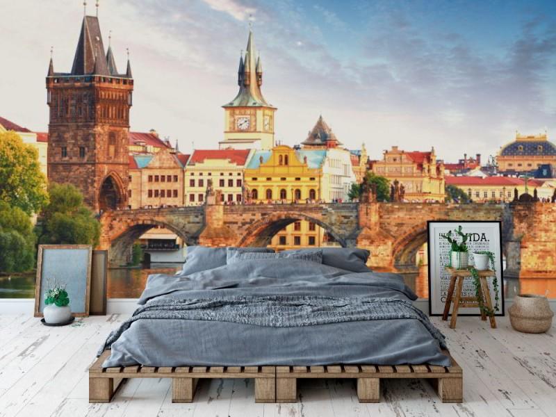 Fototapet karlsbron i Prag (Tjeckien)