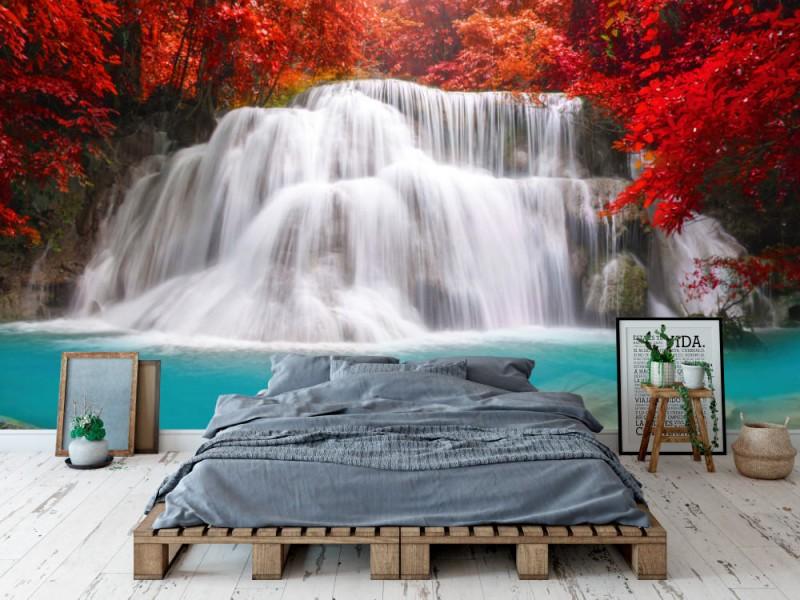 Fototapet Waterfall In Deep Forest
