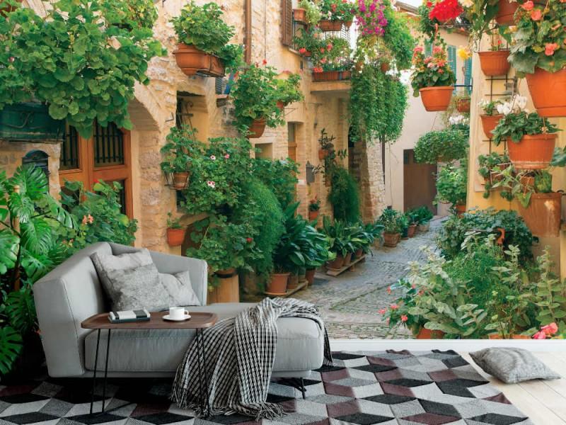 Fototapet gata dekorerad med växter och blommor i den historiska italienska staden (32646059)
