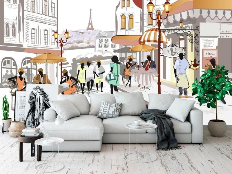Skiss-stil väggmålningsgata med människor i den gamla staden