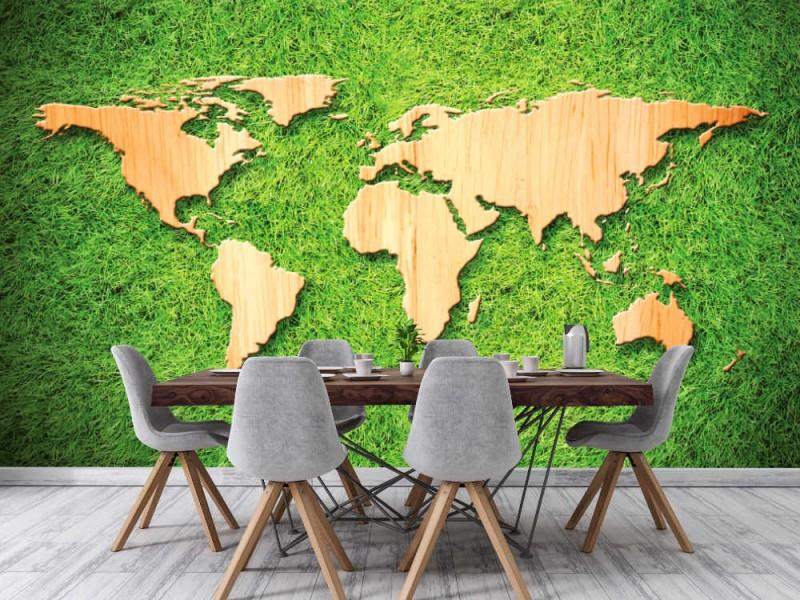 Fototapet trä världskarta på grönt gräsbakgrund (33099983)