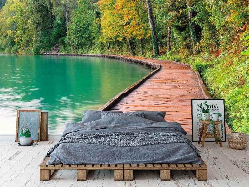 Fototapet tapet Bled sjön i Slovenien