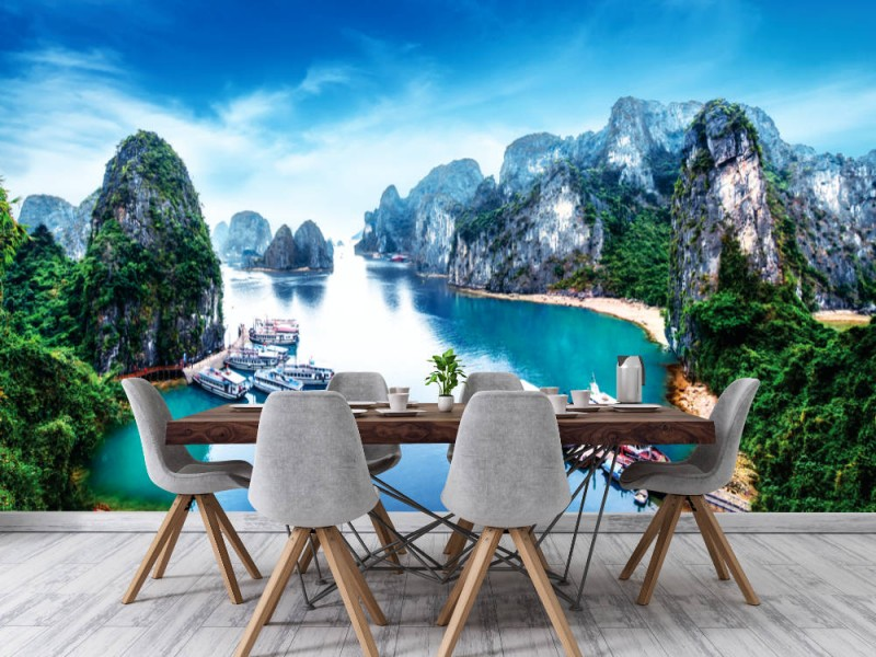 Fototapet Tourist Junks i Ha Long Bay (Vietnam)