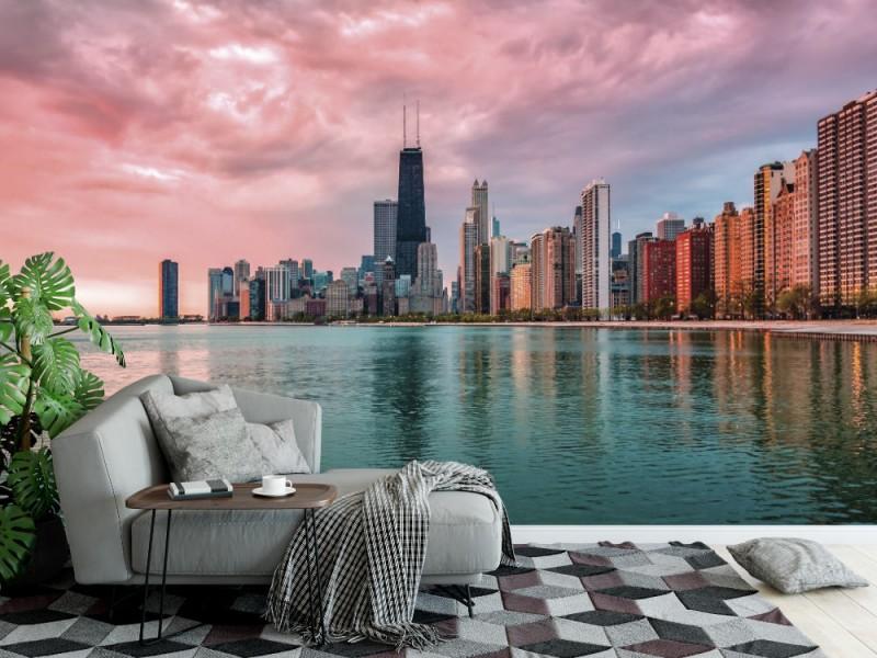 Fototapet soluppgång i stadens centrum Chicago (33935169)