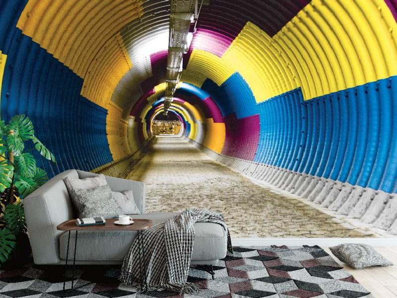 Fototapet färgrik tunnelbana tunnel