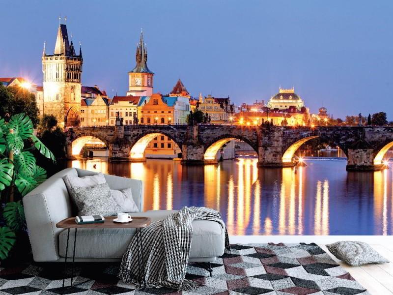 Fototapet Prag bro på natten