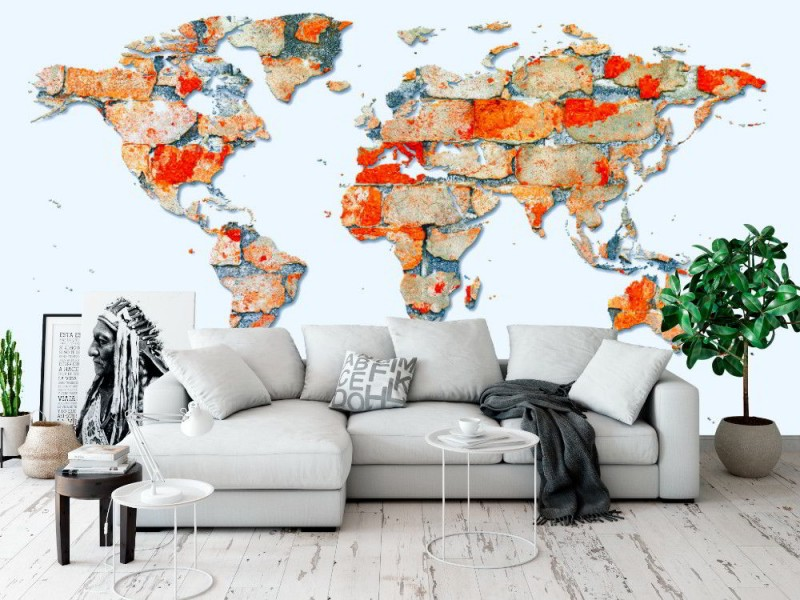Fototapet världskarta på tegelvägg (35981059)