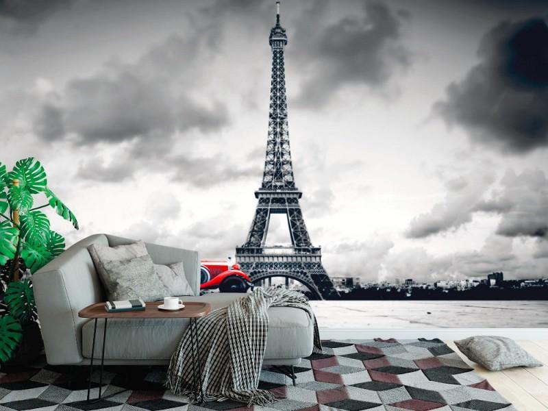 Fototapet Eiffeltornet och retrobilen