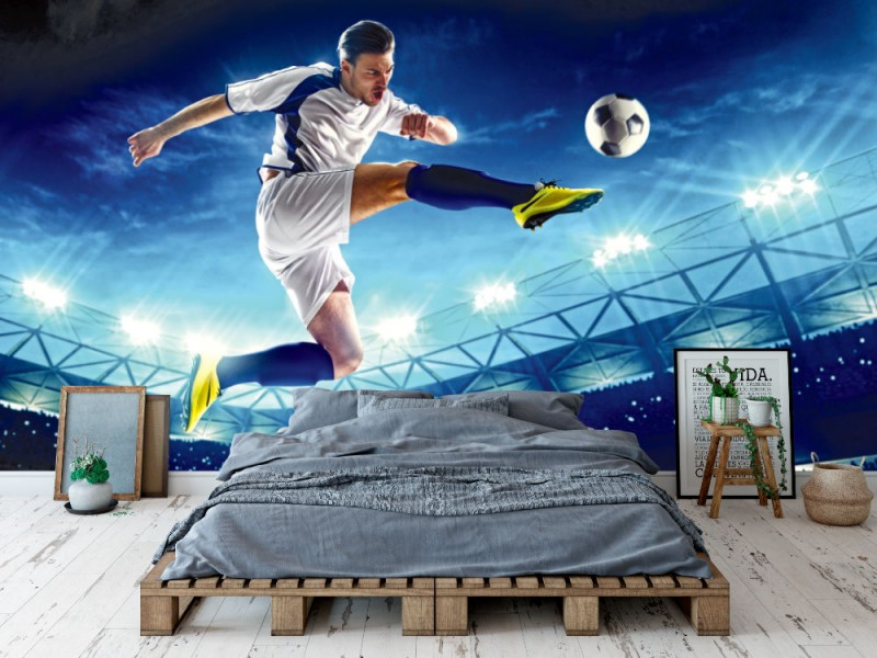 Fototapet fotbollsspelare i aktion på nattstadion (37098372)