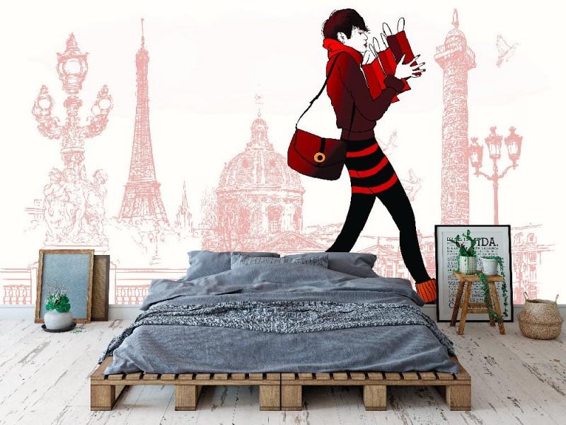 Fototapet shoppingkvinna i Paris