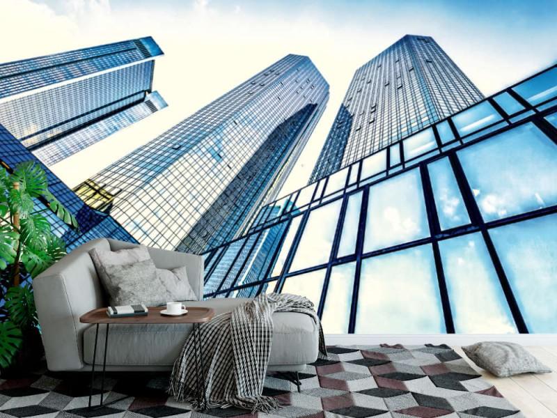 Fototapet underifrån av moderna skyskrapor (37343725)