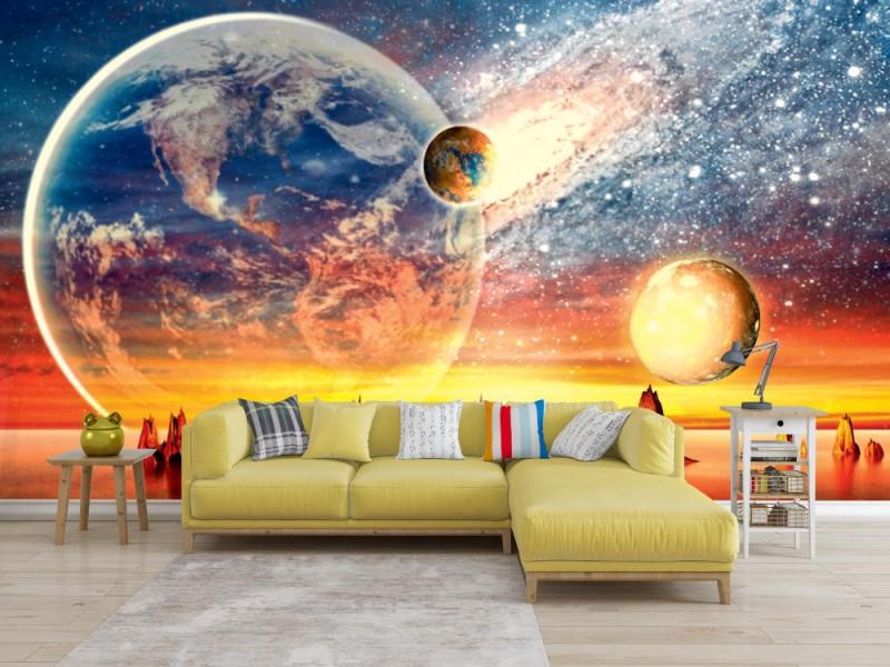 Fototapet 3d främmande planet med jord, måne och berg (37591297)